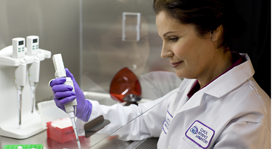 CRL employee testing lab samples